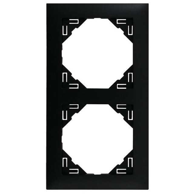 Schwarze Rahmen 2-fach für Schalter und Steckdosen