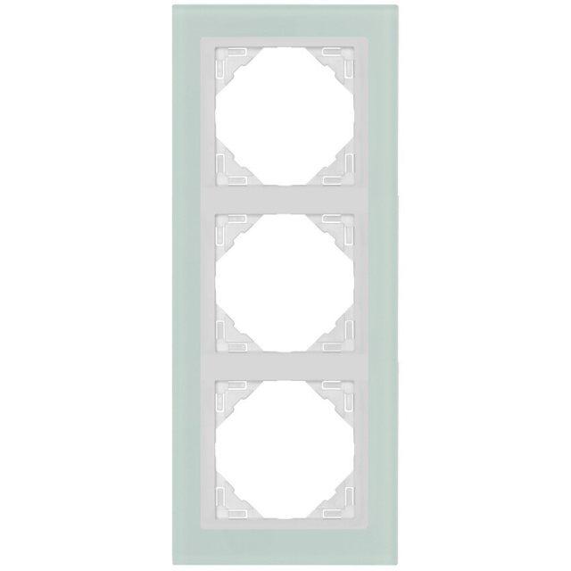 glasrahmen 3 fach f r schalter und steckdosen. Black Bedroom Furniture Sets. Home Design Ideas