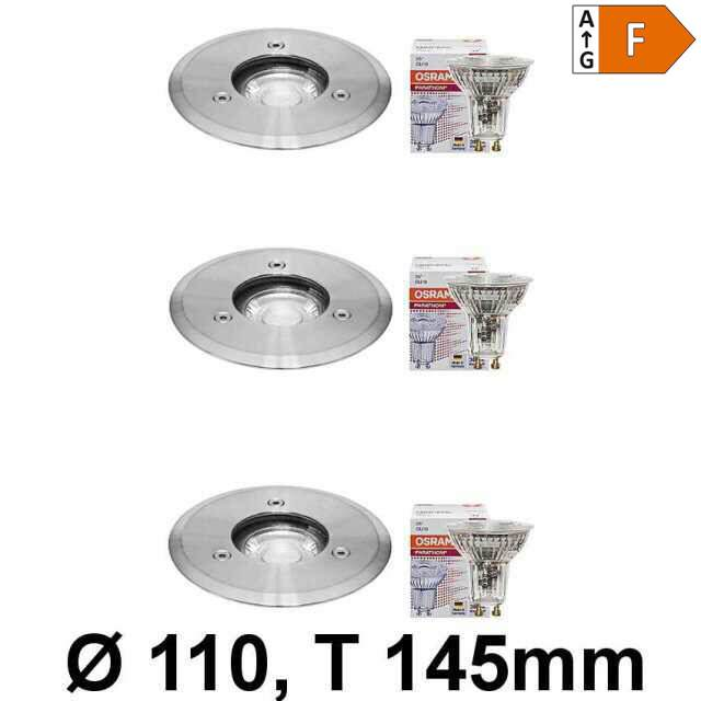 LED Bodeneinbaustrahler GU10 230V IP67 3er-Set