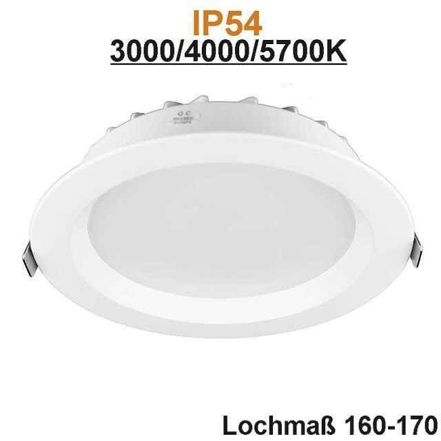 LED-Downlight IP54 18W 3000, 4000, 5700K
