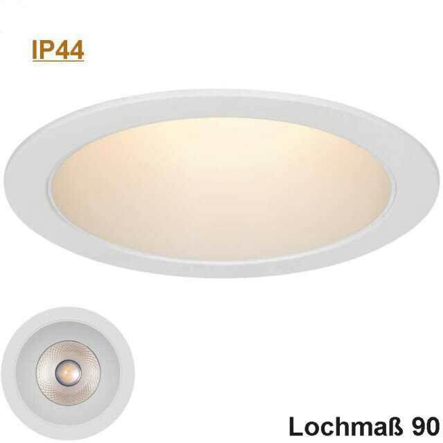 LED Downlight weiß 9W 3000K IP44 dimmbar