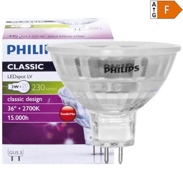 LED-GU5,3 PHILIPS 3W, 2700K, 36°