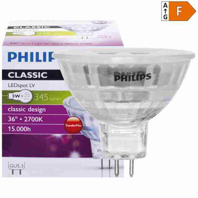 LED-GU5,3 PHILIPS 5W, 2700K, 36°