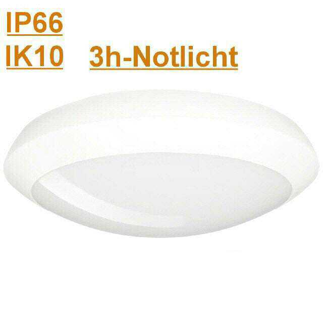 Led Leuchte Ip66 Ik10 300mm 3000k 12w Mit 3h Notlicht Sehr
