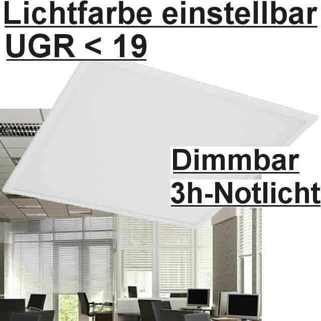 LED Panel 5700/4000/3000K einstellbar, Dimmbar+Not