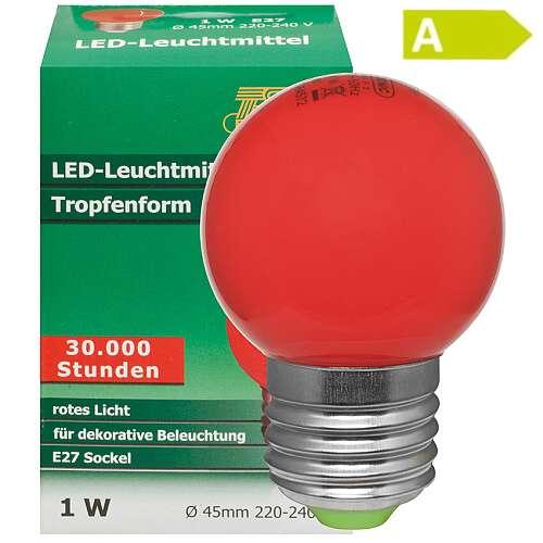 led tropfenlampe rot e27 230v 1 w. Black Bedroom Furniture Sets. Home Design Ideas