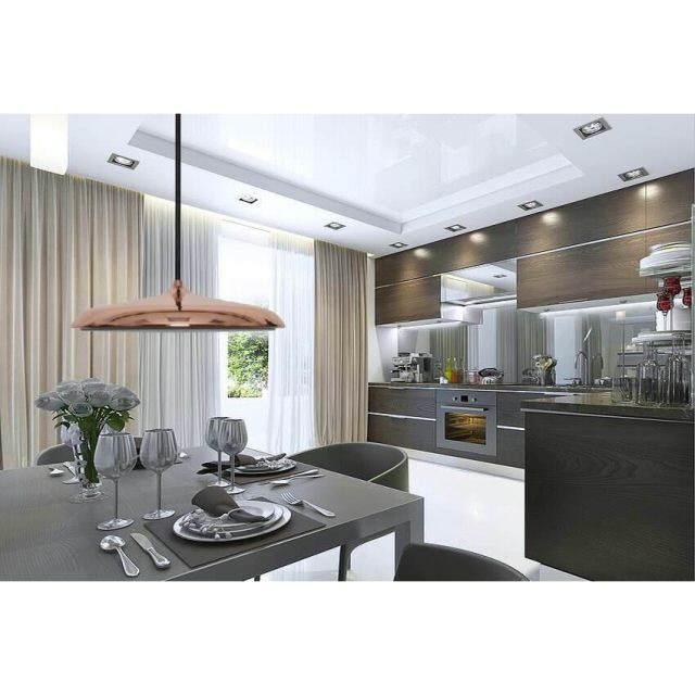 led pendelleuchte teller kupferfarben led 14w dimmbar. Black Bedroom Furniture Sets. Home Design Ideas