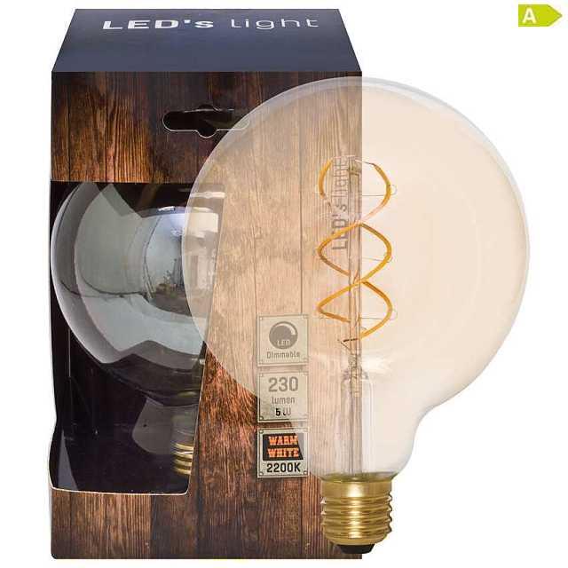 spiral led lampe dimmbar e27 5w 2200k globe 125. Black Bedroom Furniture Sets. Home Design Ideas