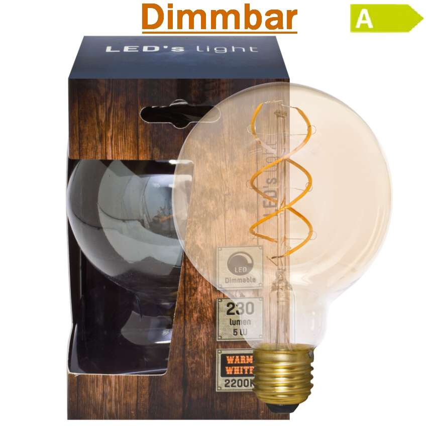 spiral led lampe dimmbar e27 5w 2200k globe 95. Black Bedroom Furniture Sets. Home Design Ideas